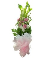 Green calla lilies with pink Eustoma