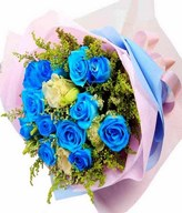 12 Stalks of Blue Roses with Eustomas