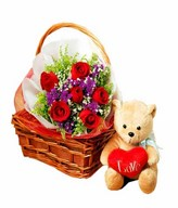 Hand Bouquet of 6 Red Roses with Fillers and Teddy Bear