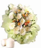 White roses, white eustoma, mini coin leaves and 10 lollipops