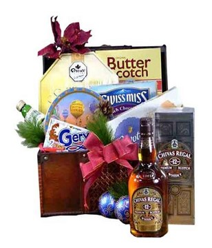 Chivas Regal with a bottle of Juice, choco chips and chocolates in a box