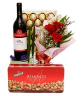 Chocolate Mixed With Red Wine And 3 Red Roses Bouquet