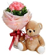 12 Pink Roses Hand Bouquet with Small Bear