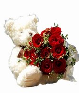 12 Red Roses Hand Bouquet with Bear