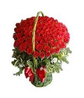99 Red Roses in Basket