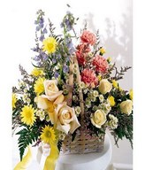 Roses, Chrysanthemums, Carnations in Basket