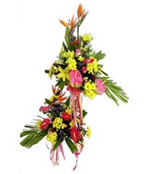 Assorted flowers of Lilies, Anthurium, Bird-of-Paradise and Sweet Pompom.