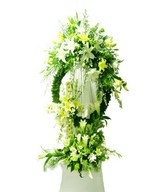 Assortment of White and Yellow Lilies with Greens