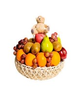 Fresh Fruit Basket with Cute Bear