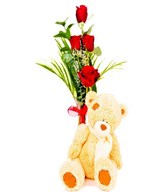 Bouquet of 4 Red Roses with Plush Toy