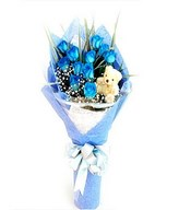 Bouquet of 12 Blue Roses with Small Teddy Bear
