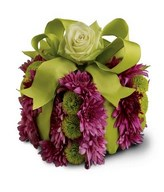European gift box decorated with purple gerberas
