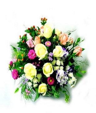 Basket of colorful roses, and eustomas