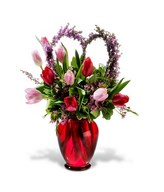 Red & Pink Tulips with Foliage in Vase