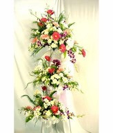 Flower arrangement of anthurium and carnations