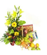 Flower, fruits and healthy food in a basket