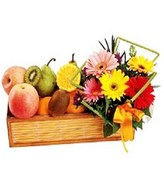 Flowers and Fresh Fruits in Fruits Baskets
