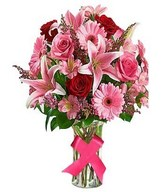 Bouquet of pink lilies, red roses and more