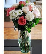 Bouquet of mixed roses, carnations and more