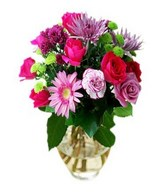 Posy of pink roses and mixed flowers in a bouquet