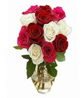Bouquet of red, pink and white roses